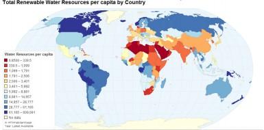 Водные ресурсы на душу населения по странам мира (м3 в год на душу населения)