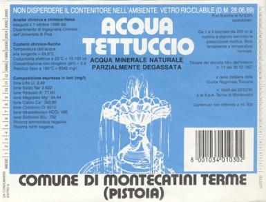 Этикетка Acqua Tettuccio