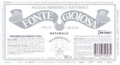 Этикетка Gioiosa della Valsesia