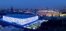 Знаменитый спортивный комплекс для водных видов спорта «Водный Куб», построенный к Олимпиаде 2000 года в Пекине